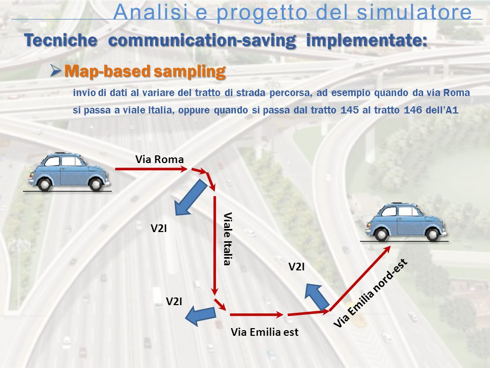 Analisi e progetto del simulatore Tecniche communication-saving implementate:  Map-based sampling invio di dati al variare del tratto di strada perco