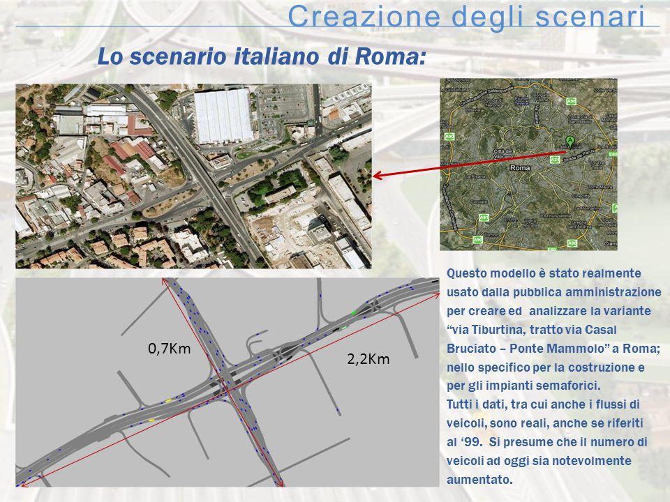 Creazione degli scenari Lo scenario italiano di Roma: Questo modello è stato realmente usato dalla pubblica amministrazione per creare ed analizzare l