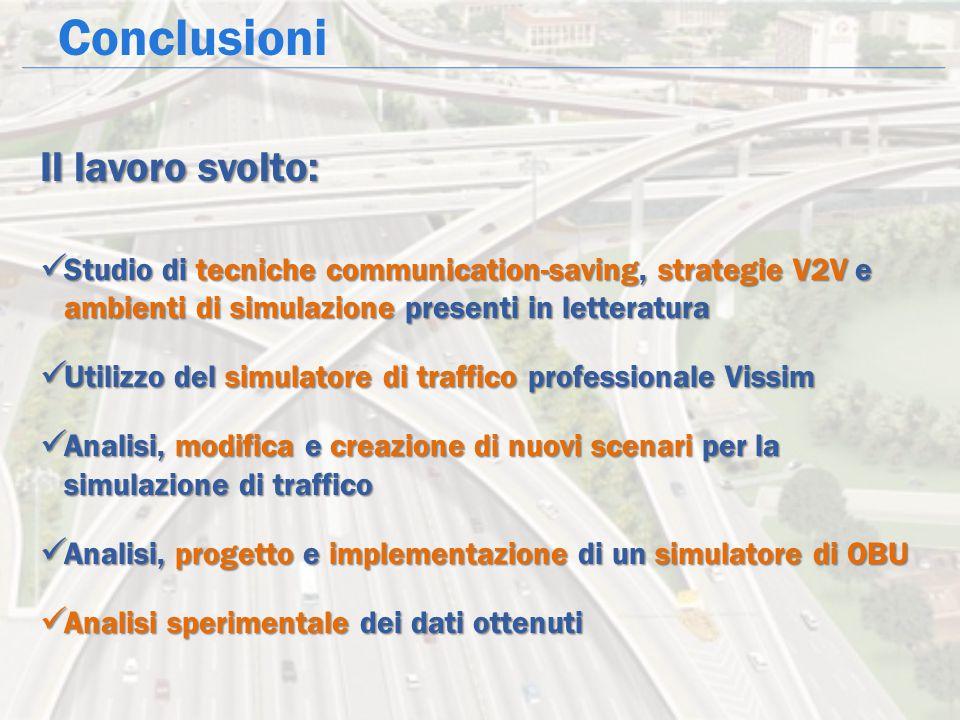 Conclusioni Il lavoro svolto: Studio di tecniche communication-saving, strategie V2V e ambienti di simulazione presenti in letteratura Studio di tecni