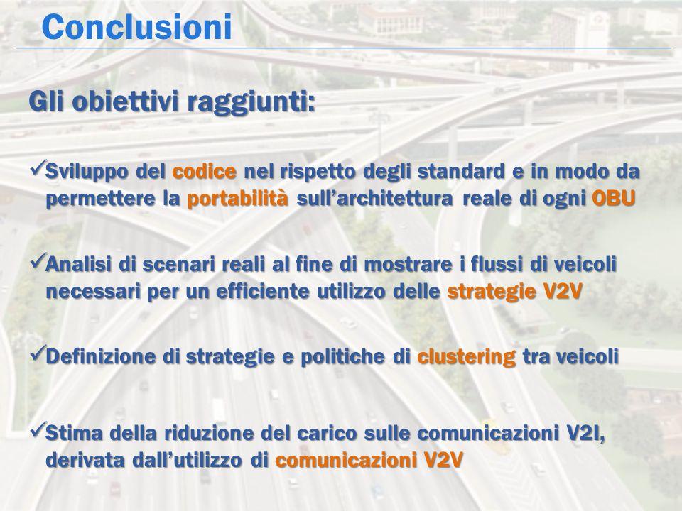 Conclusioni Gli obiettivi raggiunti: Sviluppo del codice nel rispetto degli standard e in modo da permettere la portabilità sull'architettura reale di