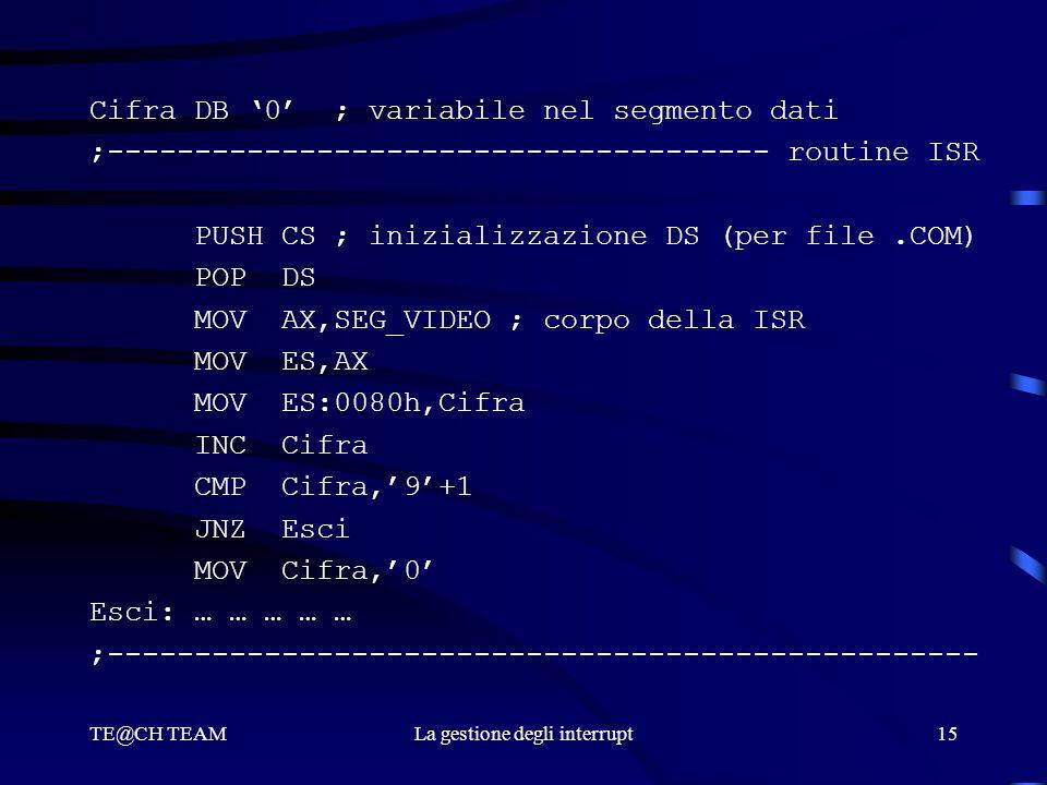 TE@CH TEAMLa gestione degli interrupt15 Cifra DB '0' ; variabile nel segmento dati ;-------------------------------------- routine ISR PUSH CS ; inizi