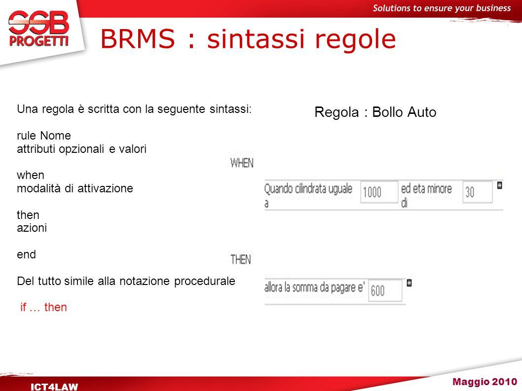 Maggio 2010 ICT4LAW BRMS : sintassi regole Regola : Bollo Auto Una regola è scritta con la seguente sintassi: rule Nome attributi opzionali e valori w
