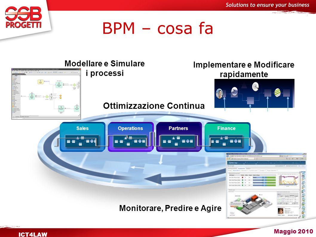 Maggio 2010 ICT4LAW BPM - benefici Il Business Process Management è un approccio strutturato basato su metodi, policy, metriche, practice di management per gestire ed ottimizzare continuamente le attività ed I processi di un'organizzazione.