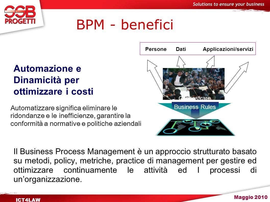 Maggio 2010 ICT4LAW BPM - benefici Il Business Process Management è un approccio strutturato basato su metodi, policy, metriche, practice di managemen