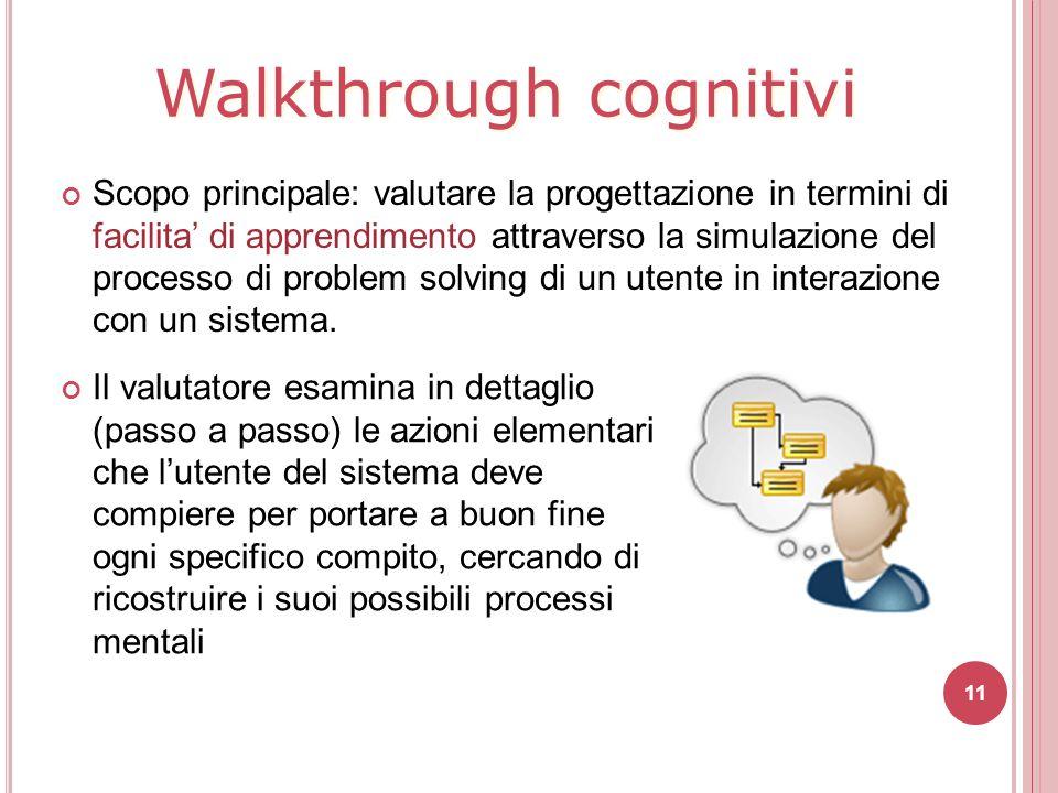 Walkthrough cognitivi Scopo principale: valutare la progettazione in termini di facilita' di apprendimento attraverso la simulazione del processo di p