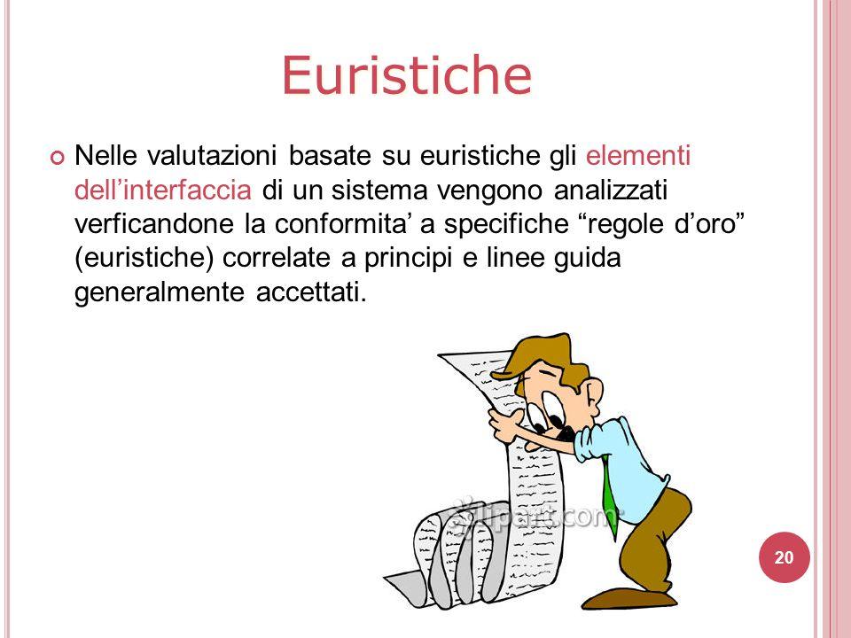Euristiche Nelle valutazioni basate su euristiche gli elementi dell'interfaccia di un sistema vengono analizzati verficandone la conformita' a specifi