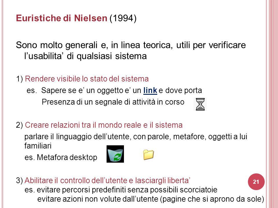 Euristiche di Nielsen (1994) Sono molto generali e, in linea teorica, utili per verificare l'usabilita' di qualsiasi sistema 1) Rendere visibile lo st
