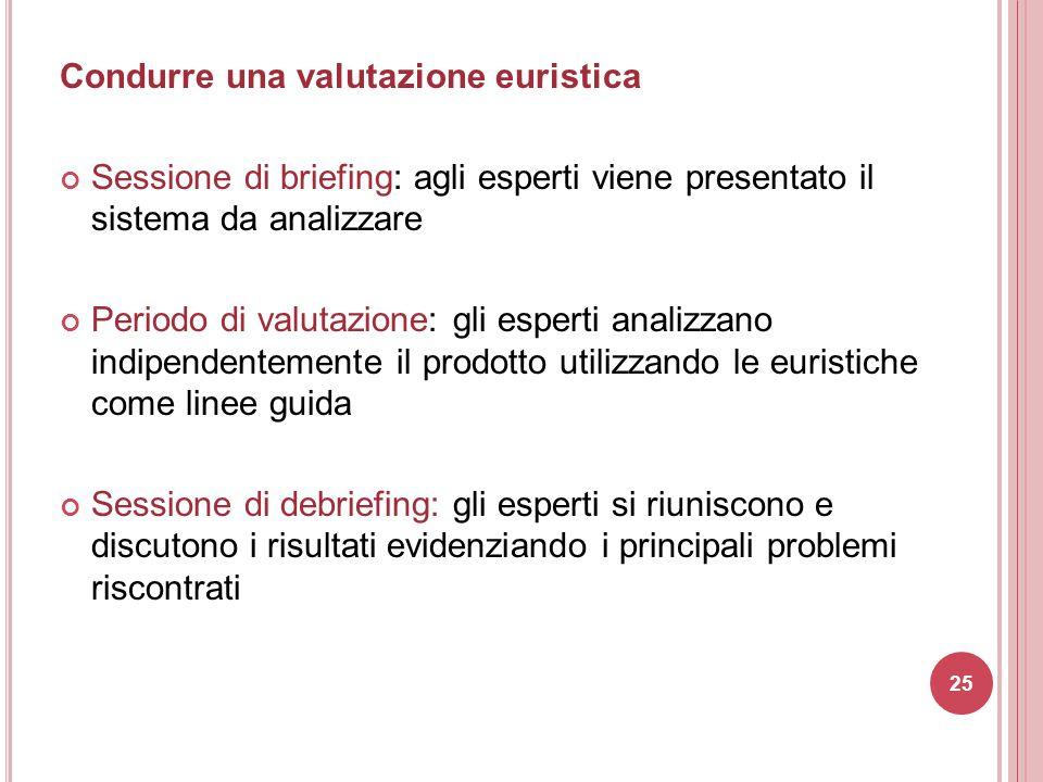 Condurre una valutazione euristica Sessione di briefing: agli esperti viene presentato il sistema da analizzare Periodo di valutazione: gli esperti an