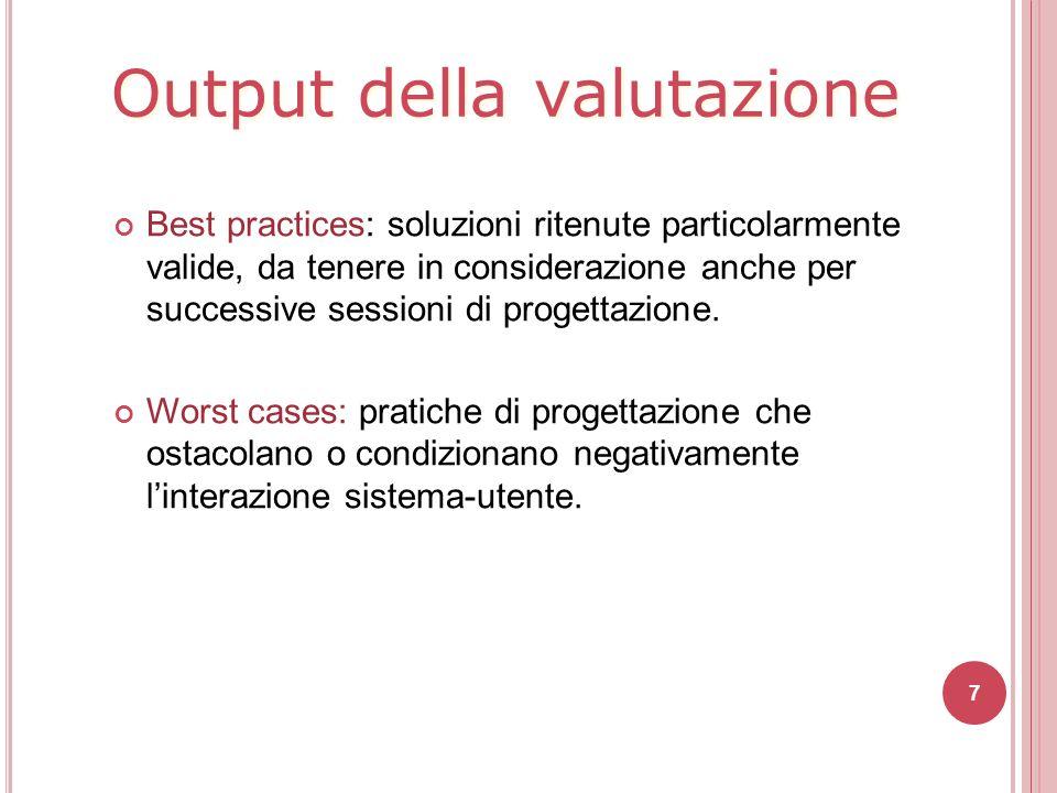 Output della valutazione Best practices: soluzioni ritenute particolarmente valide, da tenere in considerazione anche per successive sessioni di proge