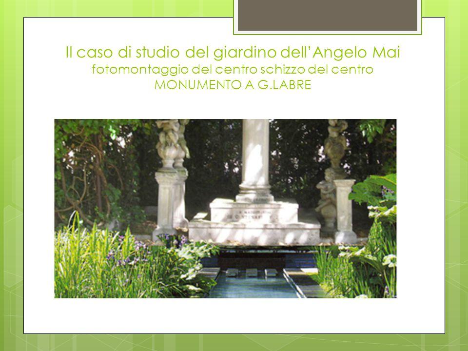 Il caso di studio del giardino dell'Angelo Mai fotomontaggio del centro schizzo del centro MONUMENTO A G.LABRE