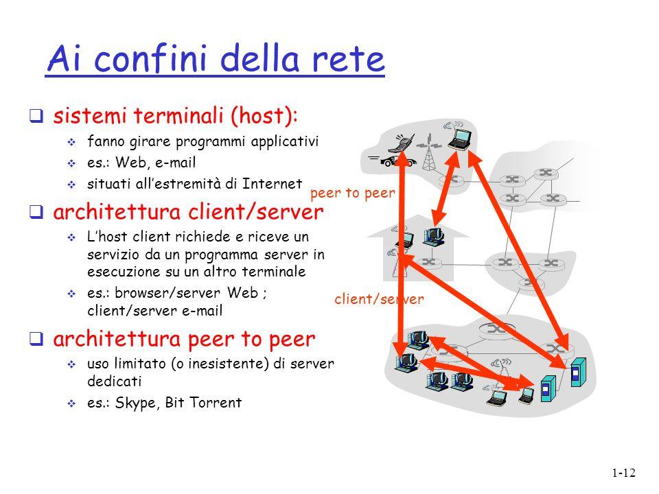 1-12 Ai confini della rete  sistemi terminali (host):  fanno girare programmi applicativi  es.: Web, e-mail  situati all'estremità di Internet  a