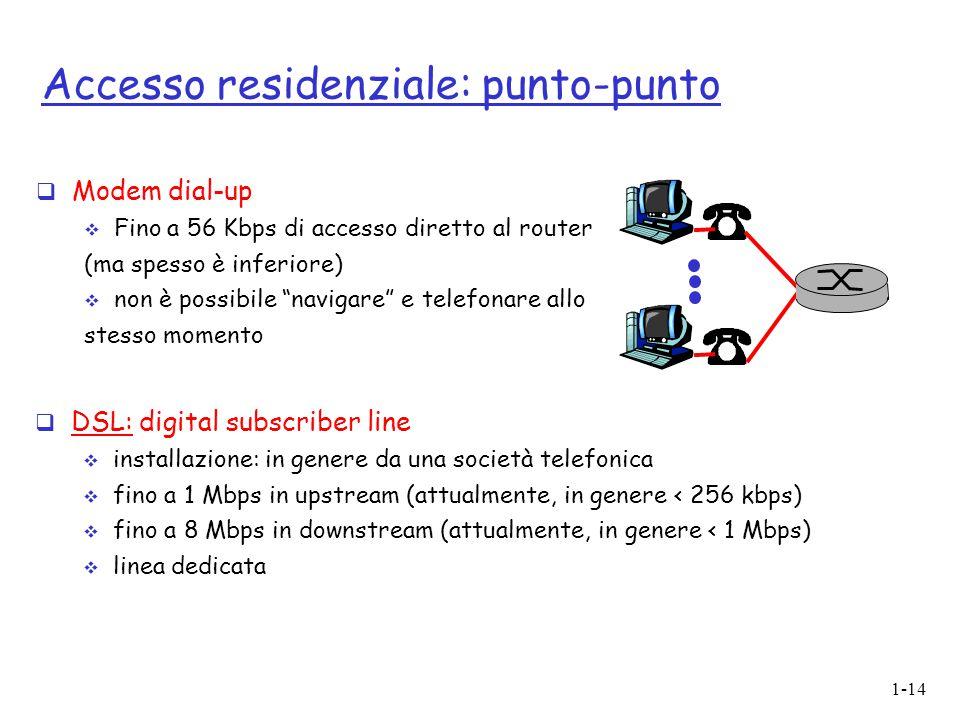 """1-14 Accesso residenziale: punto-punto  Modem dial-up  Fino a 56 Kbps di accesso diretto al router (ma spesso è inferiore)   non è possibile """"navi"""