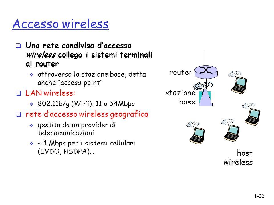 """1-22 Accesso wireless  Una rete condivisa d'accesso wireless collega i sistemi terminali al router  attraverso la stazione base, detta anche """"access"""