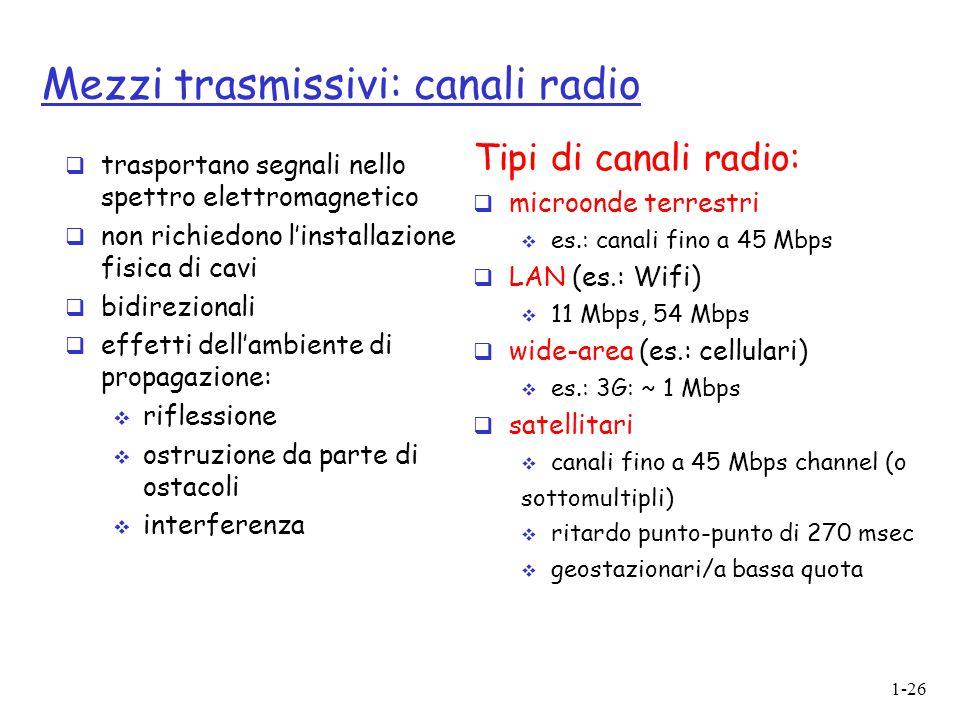 1-26 Mezzi trasmissivi: canali radio  trasportano segnali nello spettro elettromagnetico  non richiedono l'installazione fisica di cavi  bidirezion