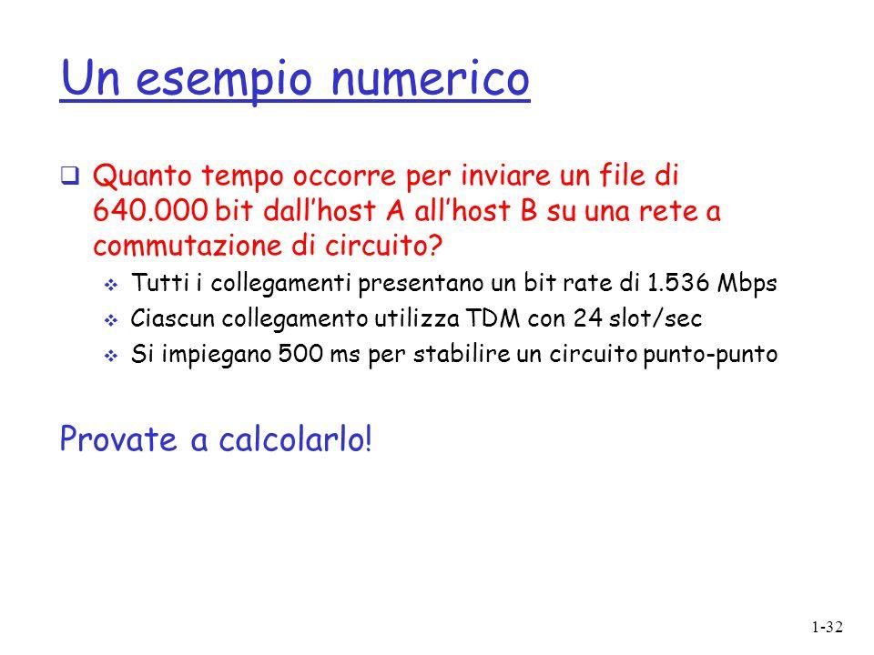 1-32 Un esempio numerico  Quanto tempo occorre per inviare un file di 640.000 bit dall'host A all'host B su una rete a commutazione di circuito?  Tu