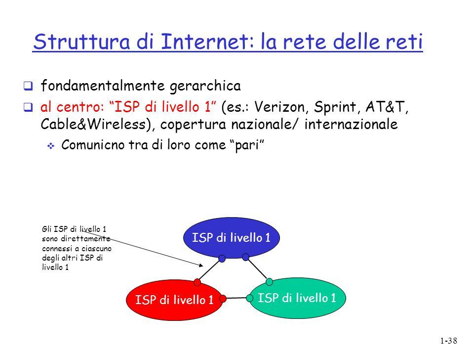 """1-38 Struttura di Internet: la rete delle reti  fondamentalmente gerarchica  al centro: """"ISP di livello 1"""" (es.: Verizon, Sprint, AT&T, Cable&Wirele"""