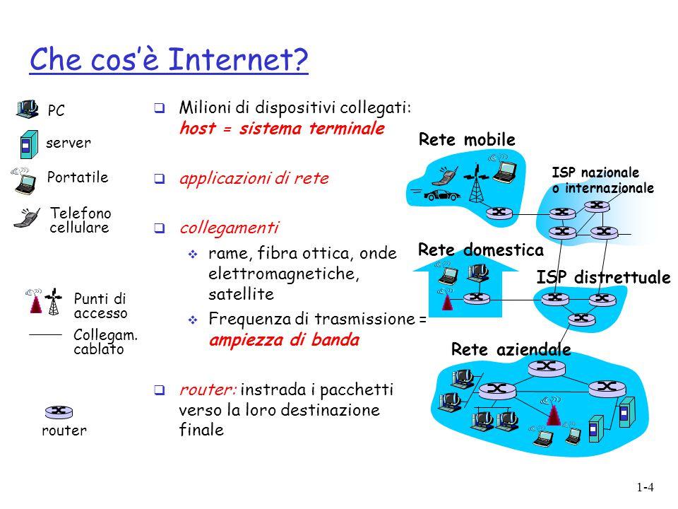 1-4 Che cos'è Internet?  Milioni di dispositivi collegati: host = sistema terminale  applicazioni di rete  collegamenti  rame, fibra ottica, onde