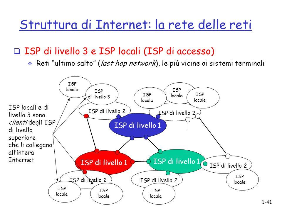 """1-41 Struttura di Internet: la rete delle reti  ISP di livello 3 e ISP locali (ISP di accesso)  Reti """"ultimo salto"""" (last hop network), le più vicin"""