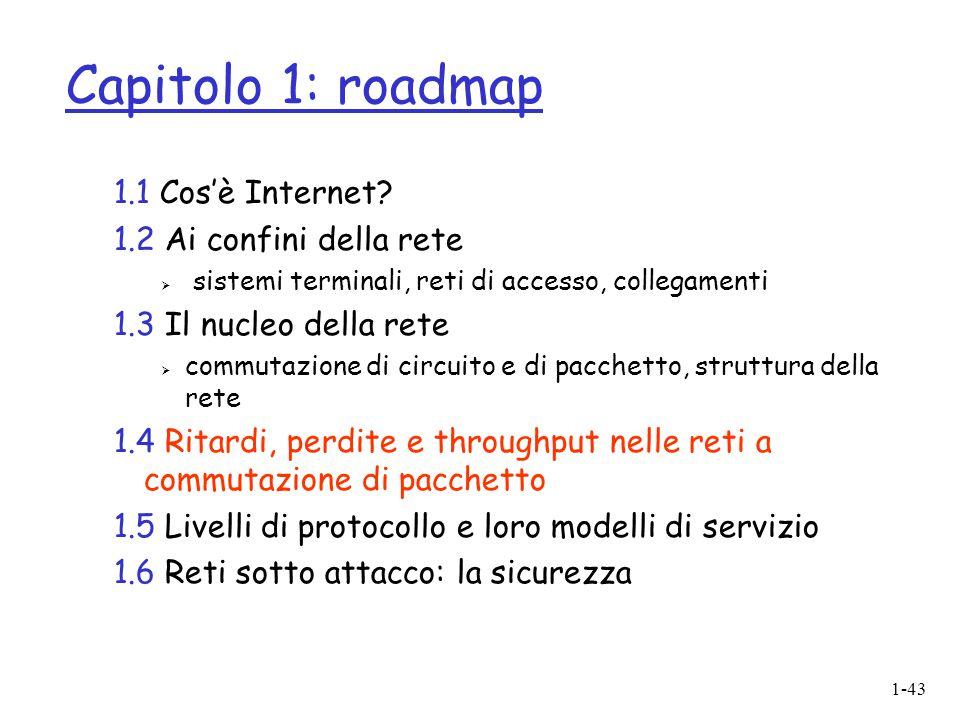 1-43 Capitolo 1: roadmap 1.1 Cos'è Internet? 1.2 Ai confini della rete  sistemi terminali, reti di accesso, collegamenti 1.3 Il nucleo della rete  c