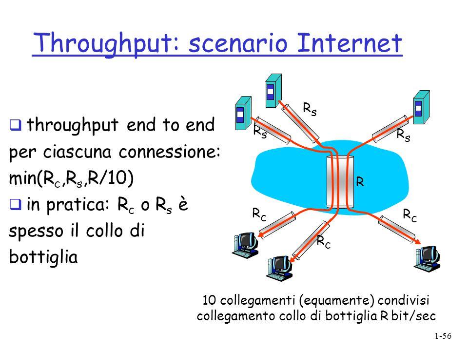 1-56 Throughput: scenario Internet 10 collegamenti (equamente) condivisi collegamento collo di bottiglia R bit/sec RsRs RsRs RsRs RcRc RcRc RcRc R  t