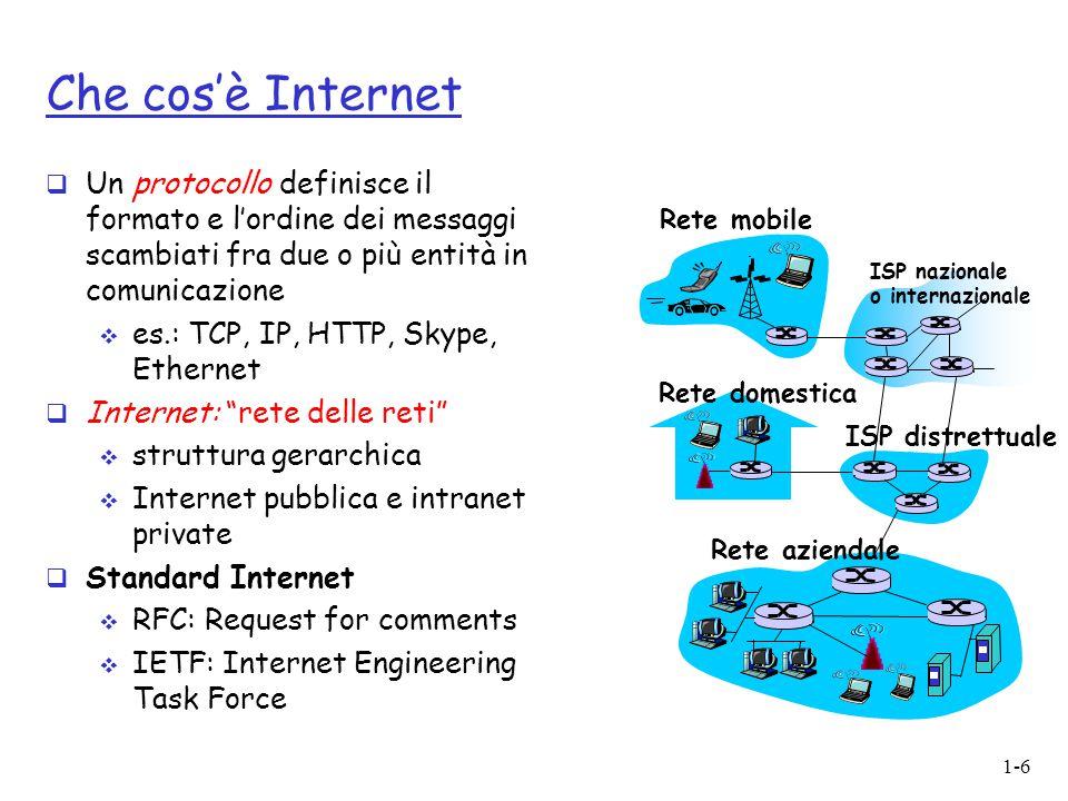 1-6 Che cos'è Internet  Un protocollo definisce il formato e l'ordine dei messaggi scambiati fra due o più entità in comunicazione  es.: TCP, IP, HT