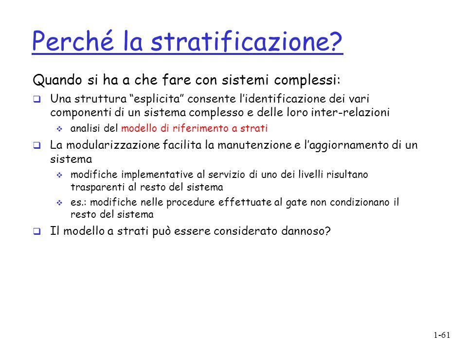 """1-61 Perché la stratificazione? Quando si ha a che fare con sistemi complessi:  Una struttura """"esplicita"""" consente l'identificazione dei vari compone"""