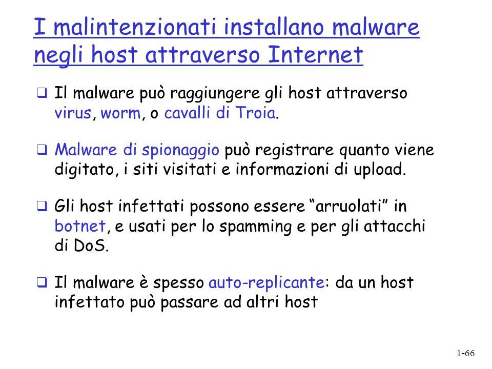 1-66 I malintenzionati installano malware negli host attraverso Internet  Il malware può raggiungere gli host attraverso virus, worm, o cavalli di Tr