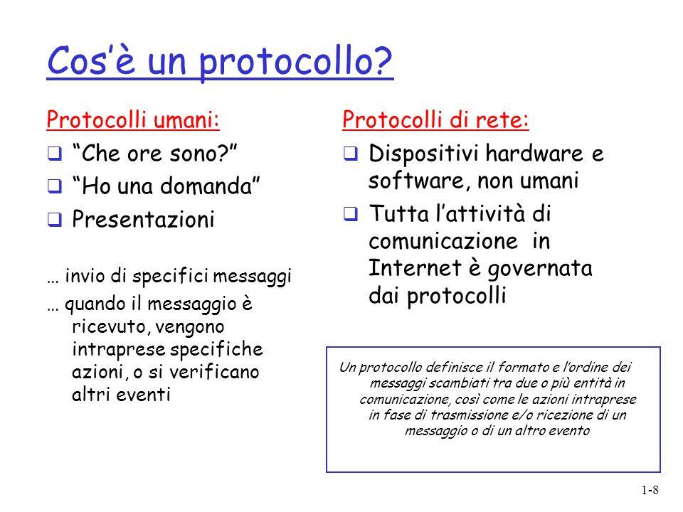"""1-8 Cos'è un protocollo? Protocolli umani:  """"Che ore sono?""""  """"Ho una domanda""""  Presentazioni … invio di specifici messaggi … quando il messaggio è"""