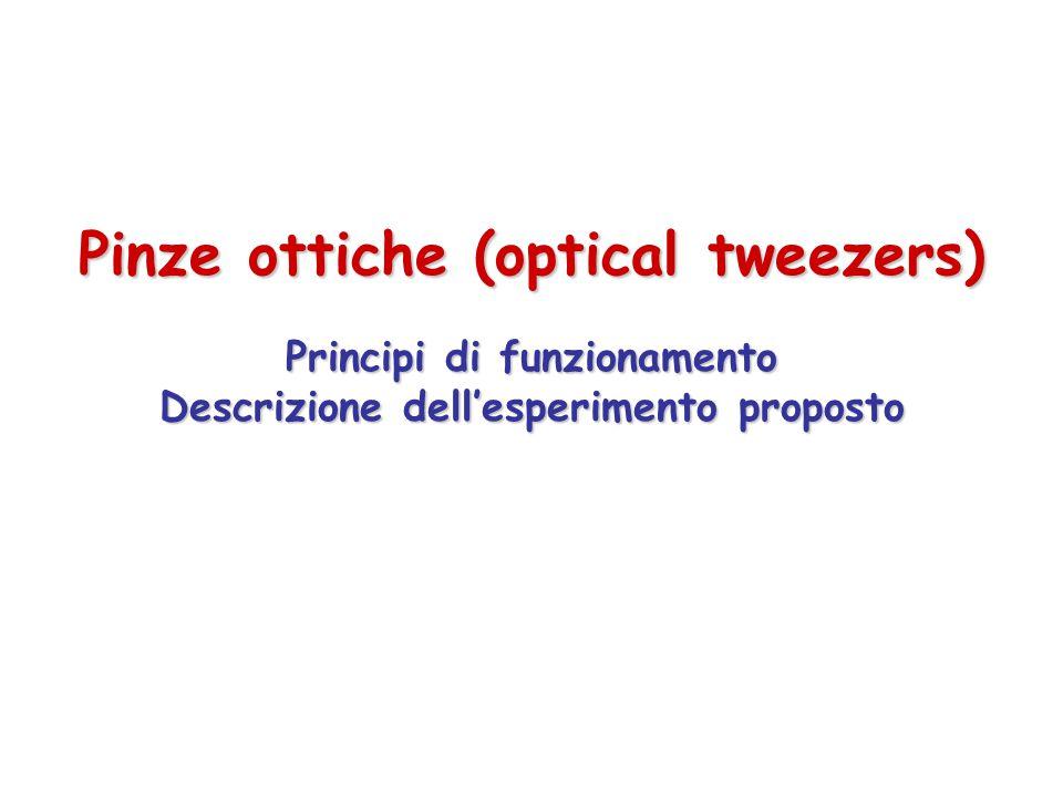 Pinze ottiche (optical tweezers) Principi di funzionamento Descrizione dell'esperimento proposto