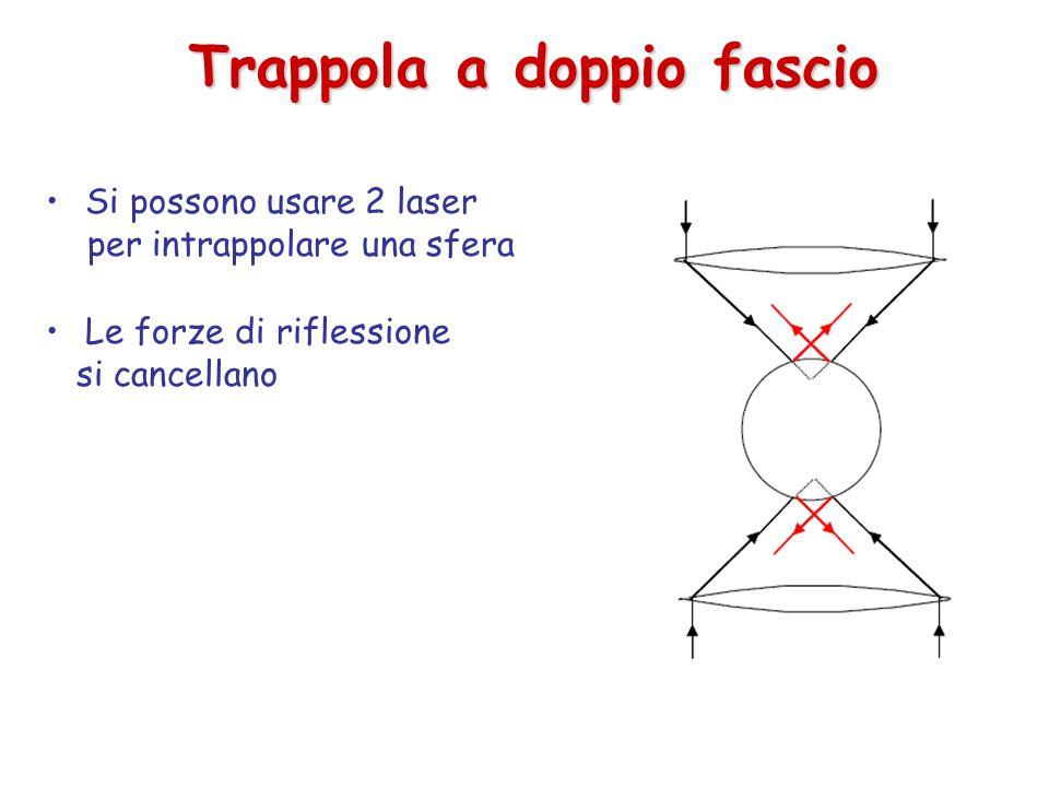 Trappola a doppio fascio Si possono usare 2 laser per intrappolare una sfera Le forze di riflessione si cancellano
