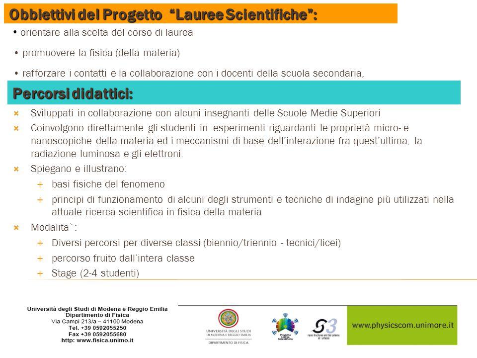 """Obbiettivi del Progetto """"Lauree Scientifiche"""": orientare alla scelta del corso di laurea promuovere la fisica (della materia) rafforzare i contatti e"""