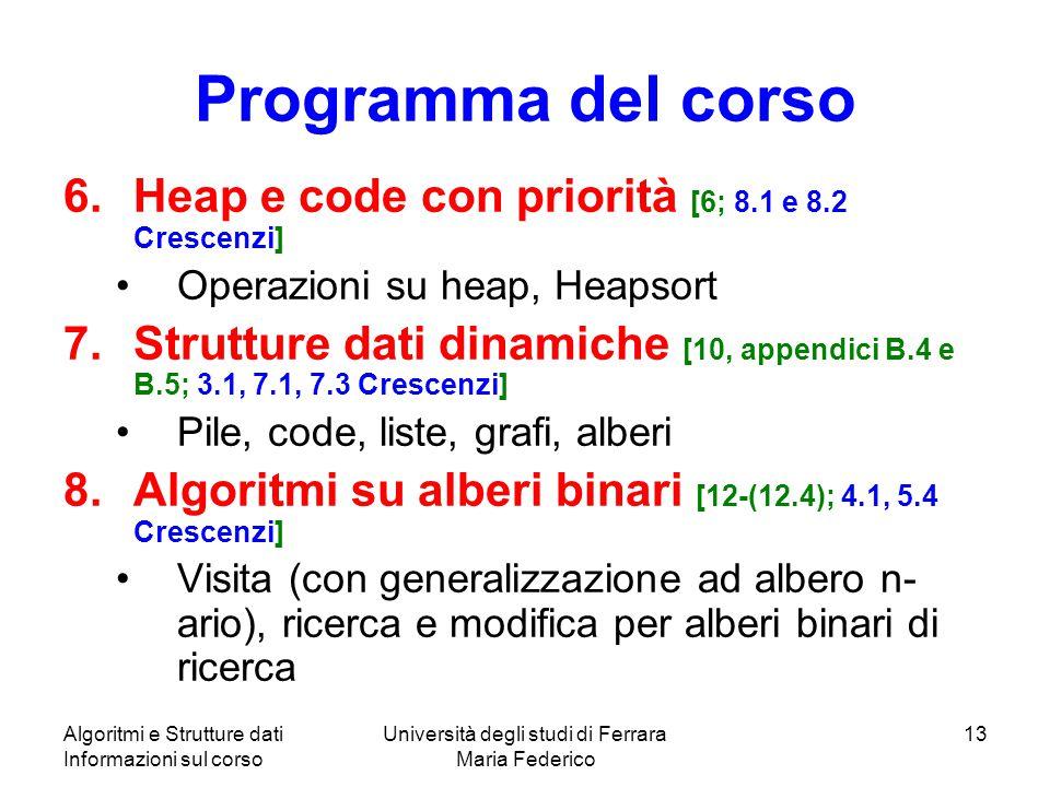 Algoritmi e Strutture dati Informazioni sul corso Università degli studi di Ferrara Maria Federico 13 Programma del corso 6.Heap e code con priorità [6; 8.1 e 8.2 Crescenzi] Operazioni su heap, Heapsort 7.Strutture dati dinamiche [10, appendici B.4 e B.5; 3.1, 7.1, 7.3 Crescenzi] Pile, code, liste, grafi, alberi 8.Algoritmi su alberi binari [12-(12.4); 4.1, 5.4 Crescenzi] Visita (con generalizzazione ad albero n- ario), ricerca e modifica per alberi binari di ricerca