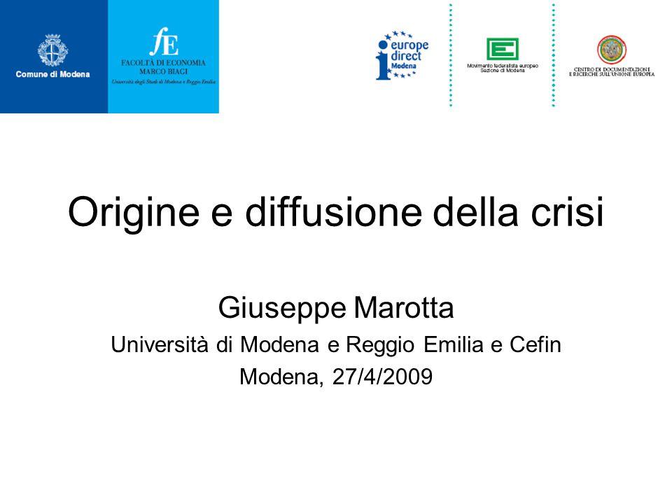 Origine e diffusione della crisi Giuseppe Marotta Università di Modena e Reggio Emilia e Cefin Modena, 27/4/2009