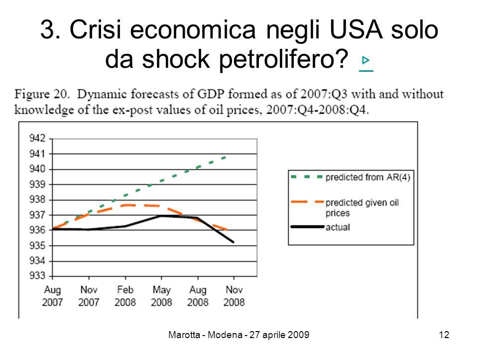 Marotta - Modena - 27 aprile 200912 3. Crisi economica negli USA solo da shock petrolifero ▹ ▹