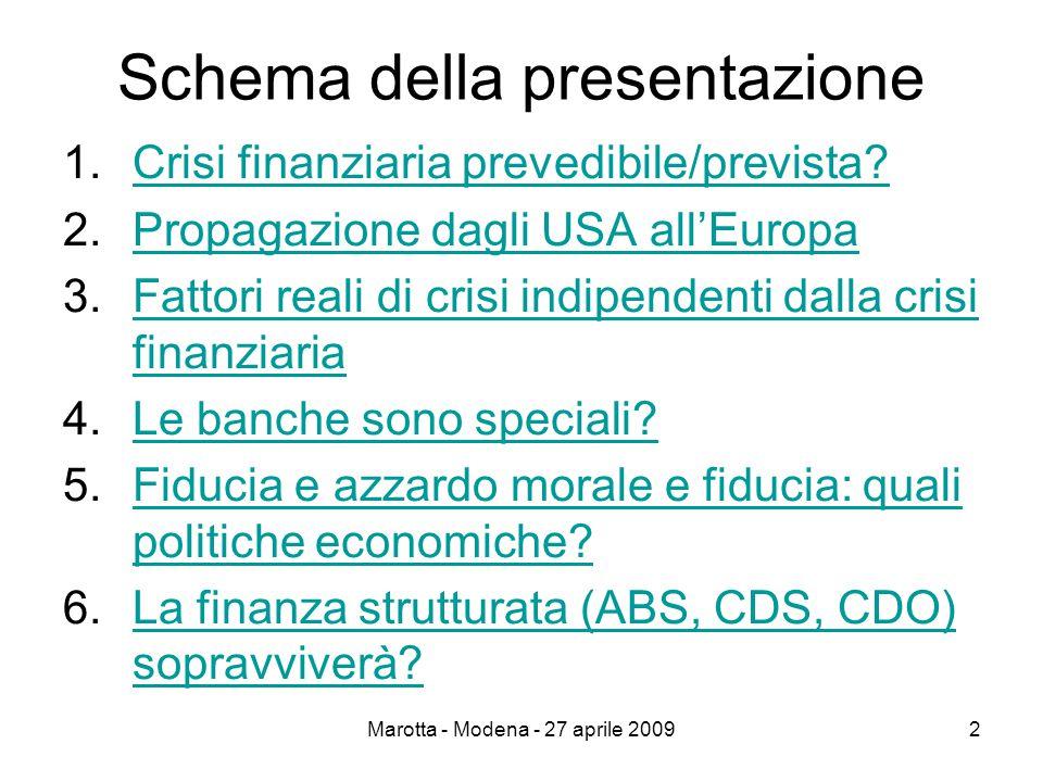 Marotta - Modena - 27 aprile 20092 Schema della presentazione 1.Crisi finanziaria prevedibile/prevista Crisi finanziaria prevedibile/prevista.