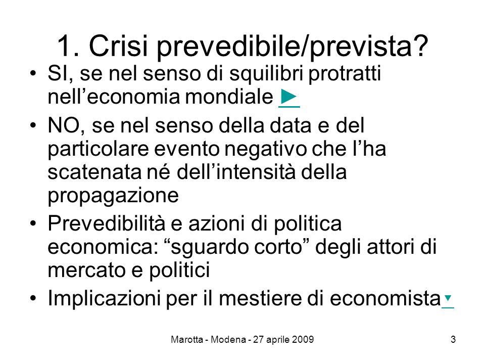 Marotta - Modena - 27 aprile 20093 1. Crisi prevedibile/prevista.
