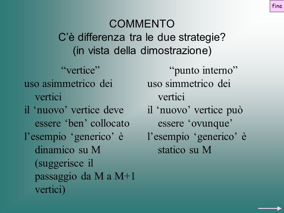 """COMMENTO C'è differenza tra le due strategie? (in vista della dimostrazione) """"vertice"""" uso asimmetrico dei vertici il 'nuovo' vertice deve essere 'ben"""