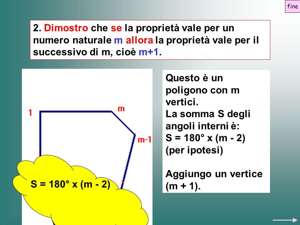 2. Dimostro che se la proprietà vale per un numero naturale m allora la proprietà vale per il successivo di m, cioè m+1. Questo è un poligono con m ve