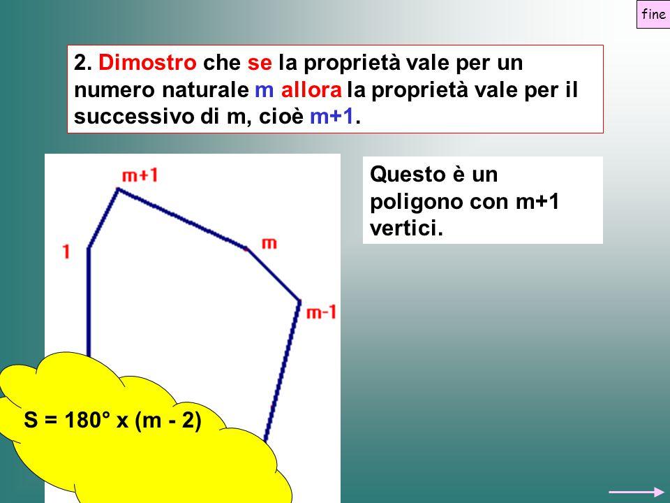 2. Dimostro che se la proprietà vale per un numero naturale m allora la proprietà vale per il successivo di m, cioè m+1. Questo è un poligono con m+1