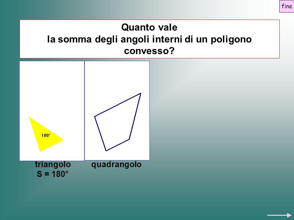Quanto vale la somma degli angoli interni di un poligono convesso? triangolo S = 180° quadrangolo Quanto vale la somma degli angoli interni di un poli
