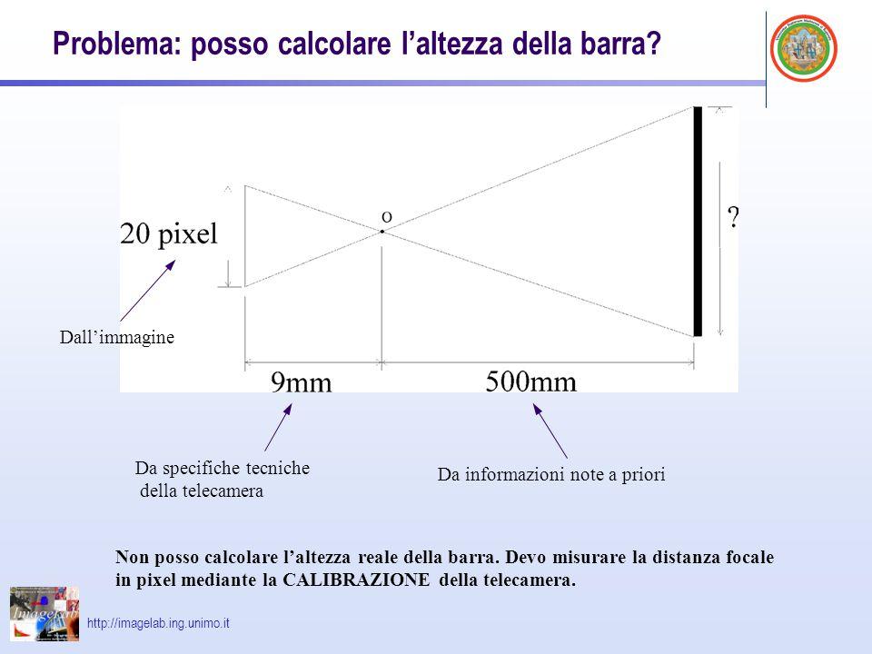 http://imagelab.ing.unimo.it Problema: posso calcolare l'altezza della barra? Da specifiche tecniche della telecamera Dall'immagine Da informazioni no
