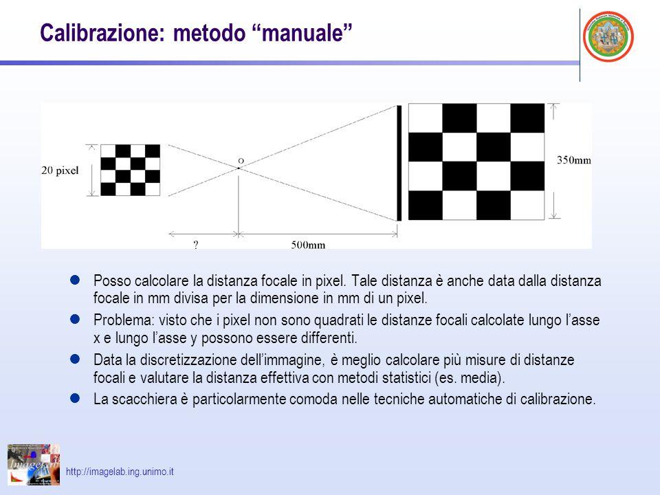 """http://imagelab.ing.unimo.it Calibrazione: metodo """"manuale"""" Posso calcolare la distanza focale in pixel. Tale distanza è anche data dalla distanza foc"""