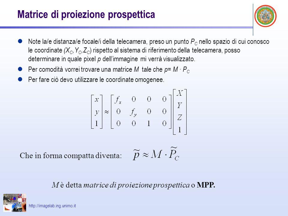 http://imagelab.ing.unimo.it Matrice di proiezione prospettica Note la/e distanza/e focale/i della telecamera, preso un punto P C nello spazio di cui