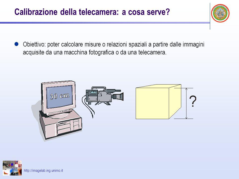 http://imagelab.ing.unimo.it Calibrazione della telecamera: a cosa serve? Obiettivo: poter calcolare misure o relazioni spaziali a partire dalle immag