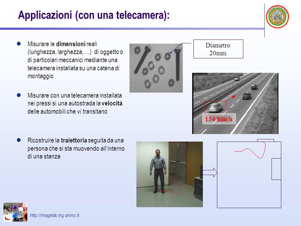 http://imagelab.ing.unimo.it Applicazioni (con due telecamere): Ricostruzioni 3D Distanza degli oggetti dalla telecamera (Robot mobili – calcolo del tempo di collisione)