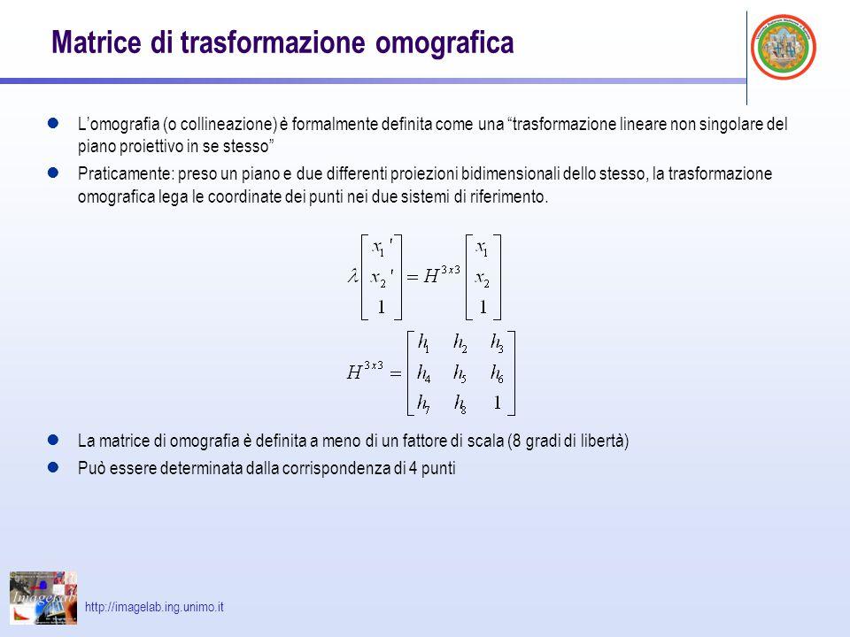 """http://imagelab.ing.unimo.it Matrice di trasformazione omografica L'omografia (o collineazione) è formalmente definita come una """"trasformazione linear"""