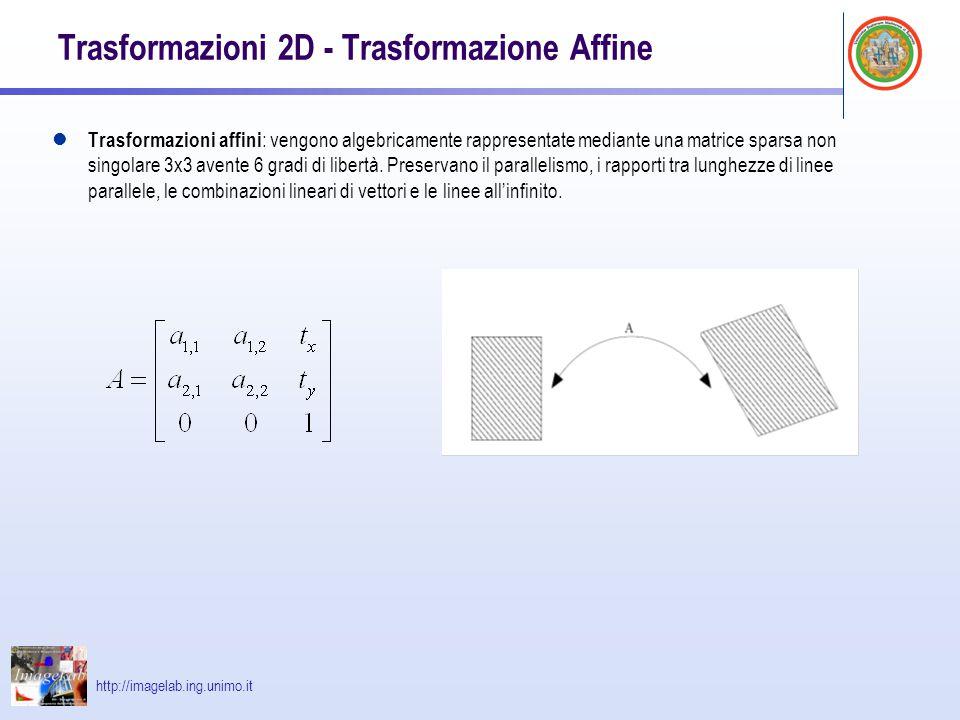 http://imagelab.ing.unimo.it Trasformazioni 2D - Trasformazione Affine Trasformazioni affini : vengono algebricamente rappresentate mediante una matri
