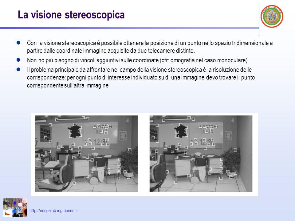 http://imagelab.ing.unimo.it La visione stereoscopica Con la visione stereoscopica è possibile ottenere la posizione di un punto nello spazio tridimen