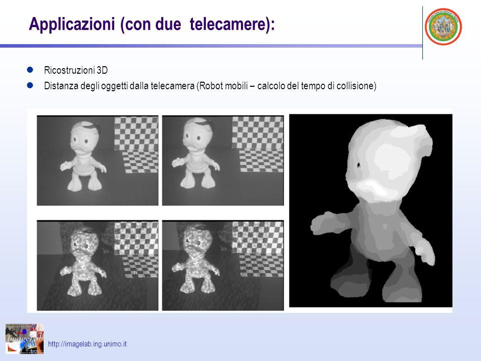 http://imagelab.ing.unimo.it Applicazioni (con due telecamere): Ricostruzioni 3D Distanza degli oggetti dalla telecamera (Robot mobili – calcolo del t