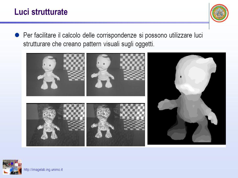 http://imagelab.ing.unimo.it Luci strutturate Per facilitare il calcolo delle corrispondenze si possono utilizzare luci strutturare che creano pattern